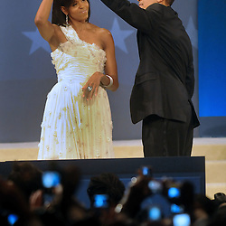 President Barack Obama and First Lady Michelle Obama dance at the Home State's Ball on the night of the inauguration.
