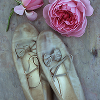 Pair of ballet or dancing shoes once white but now used and grubby sitting on marbled slate with two pale pink roses
