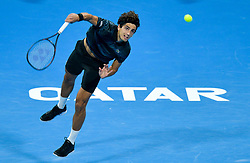 Pierre-Hugues HERBERT of France serves to Tomas Berdych of Czech Republic during their Quarter - Final of ATP Qatar Open Tennis match at the Khalifa International Tennis Complex in Doha, capital of Qatar, on January 03, 2019. Tomas Berdych won 2-0  (Credit Image: © Nikku/Xinhua via ZUMA Wire)