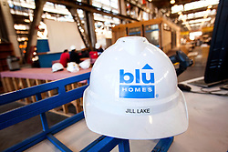 "Interior of Blu Homes state of the art ""green"" LEED certifiable, prefab home Mare Island factory in Vallejo, California. The 250,000 square foot facility was previously used to build submarine periscopes when the US Navy was based there."