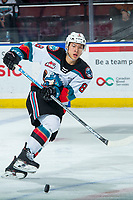 KELOWNA, BC - FEBRUARY 12: Trevor Wong #8 of the Kelowna Rockets passes the puck against the Tri-City Americans at Prospera Place on February 8, 2020 in Kelowna, Canada. (Photo by Marissa Baecker/Shoot the Breeze)