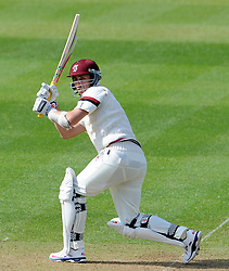 Somerset's Tom Cooper drives the ball.  - Photo mandatory by-line: Harry Trump/JMP - Mobile: 07966 386802 - 07/04/15 - SPORT - CRICKET - Pre Season - Somerset v Lancashire - Day 1 - The County Ground, Taunton, England.