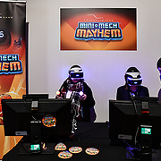 Mini-mech Mayhem exhibition at London Games Festival 2019: HUB at Somerset House at Strand, London, UK. on 2nd April 2019.