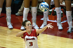 19 AUG 2006 Kelly Waterstraat sets up for a serve. Northern Illinois Huskies got slammed by Illinois State Redbirds, losing the match 3 games to 1. Game action took place at Redbird Arena on the campus of Illinois State University in Normal Illinois.