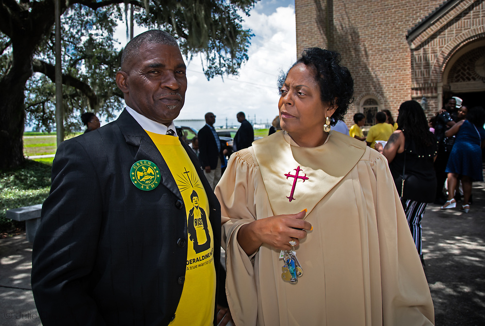 Sharon Lavigne, founder of Rise St. James,  at Geraldine Mayho's funeral with Pastor Harry Jospeh.