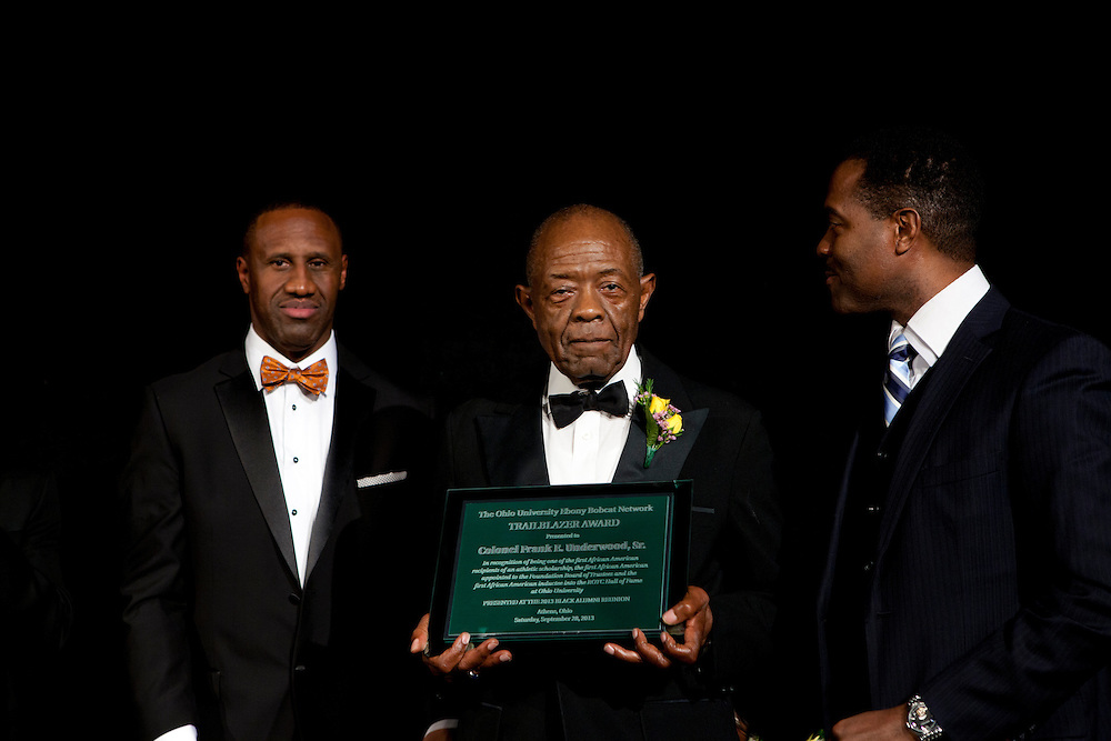 "Col. Frank E. Underwoood accepting the Ebony Bobcat Network Trailblazer award at ""Celebrating Black Heritage at Ohio University Through the Decades"" at the Black Alumni Reunion Gala in Baker Center on September 28, 2013."""