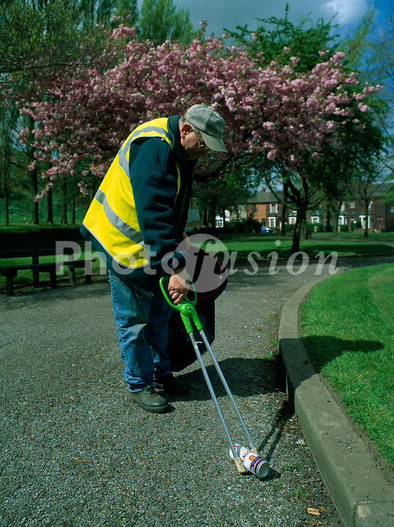 Removal of litter from local park; Bury; Greater Manchester