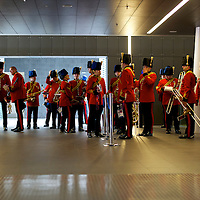 The Royal Engineers Band assembles at the ExCel London Exhibition Centre before performing at fencing matches during the 2012 London Summer Olympics.