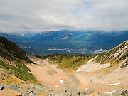 High-angle view of Golden, British Columbia taken from near the Kicking Horse Resort.