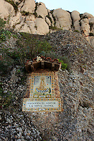Various Christian paintings can be found on the pathways around the Benedictine monastery of Montserrat on the outskirts of Barcelona, Spain