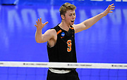 Princeton Tigers outside hitter Greg Luck (9) celebrates against the Pepperdine Waves during an NCAA Championships opening round match, Wednesday, April 30, 2019, in Long Beach, Calif. Pepperdine defeated Princeton 25-23, 19-25, 25-16, 22-25, 15-8.
