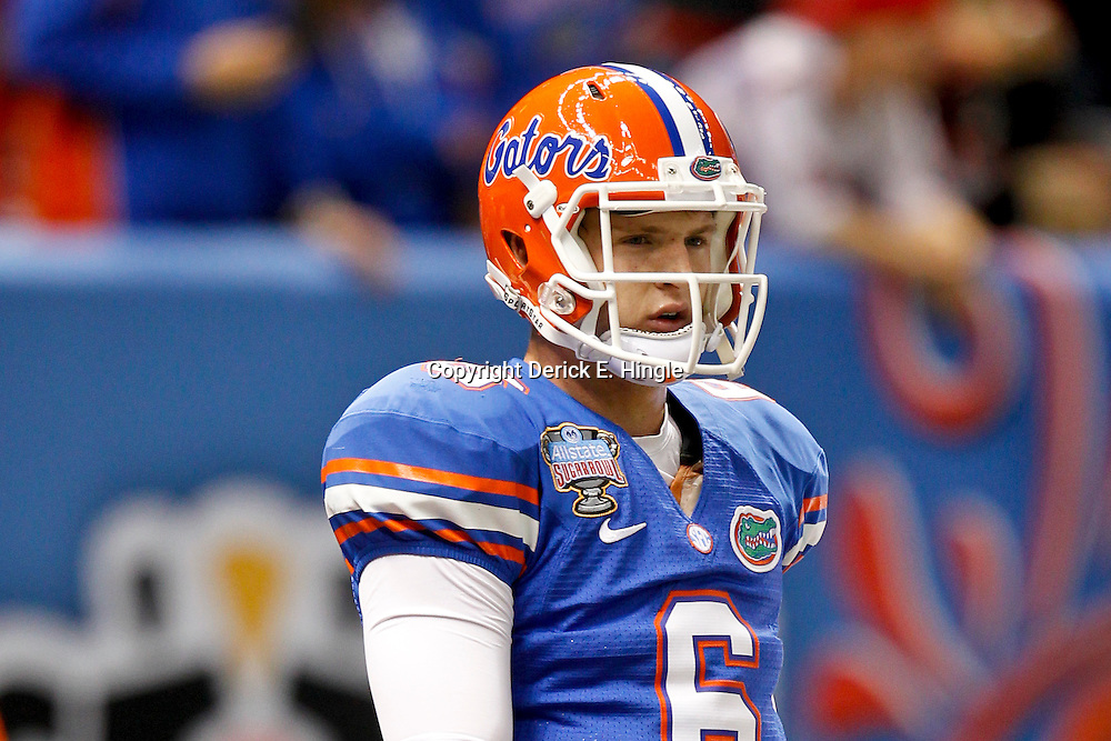 Jan 2, 2013; New Orleans, LA, USA; Florida Gators quarterback Jeff Driskel (6) throws prior to kickoff of the Sugar Bowl against the Louisville Cardinals at the Mercedes-Benz Superdome.  Mandatory Credit: Derick E. Hingle-USA TODAY Sports