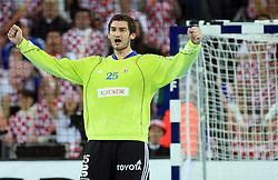 Goalekeeper of Croatia Mirko Alilovic celebrates during 21st Men's World Handball Championship 2009 Main round Group I match between National teams of Croatia and Hungary, on January 24, 2009, in Arena Zagreb, Zagreb, Croatia.  (Photo by Vid Ponikvar / Sportida)