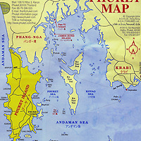 Map of Phuket Island Tsunami Region in Thailand <br />