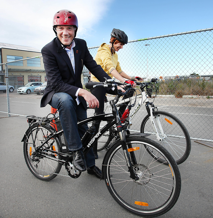 Mayor Bob Parker, left, Mayoress Jo Nichols-Parker following a cycle race to celebrate the opening of Madras Street, one of Christchurch's main one-way streets closed since the February 22, 1011 earthquake, Christchurch, New Zealand, Sunday, April 29, 2012.  Credit:SNPA / Pam Johnson