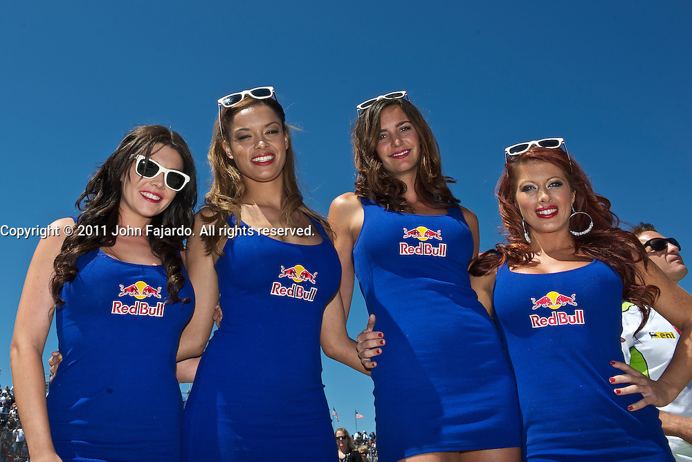 Red Bull Energy Drink Girls during the Redbull U.S. MotoGP at Mazda Raceway Laguna Seca, Salinas, Calif., Sunday, July 24, 2011.