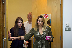© Licensed to London News Pictures. 04/06/2015. L to R AMELIA WOMACK (deputy leader of the green party),  STEVE TURNER (Unite assistant general secretary) and  CHARLOTTE CHURCH entire the press conference.  Singer and activist CHARLOTTE CHURCH takes part in a panel press conference at the Unite Union building in London, ahead of an anti-austerity demonstration on June 20th. London, UK. Photo credit: Ben Cawthra/LNP