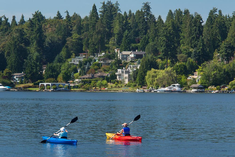 United States, Washington, Kirkland, kayakers on Lake Washington
