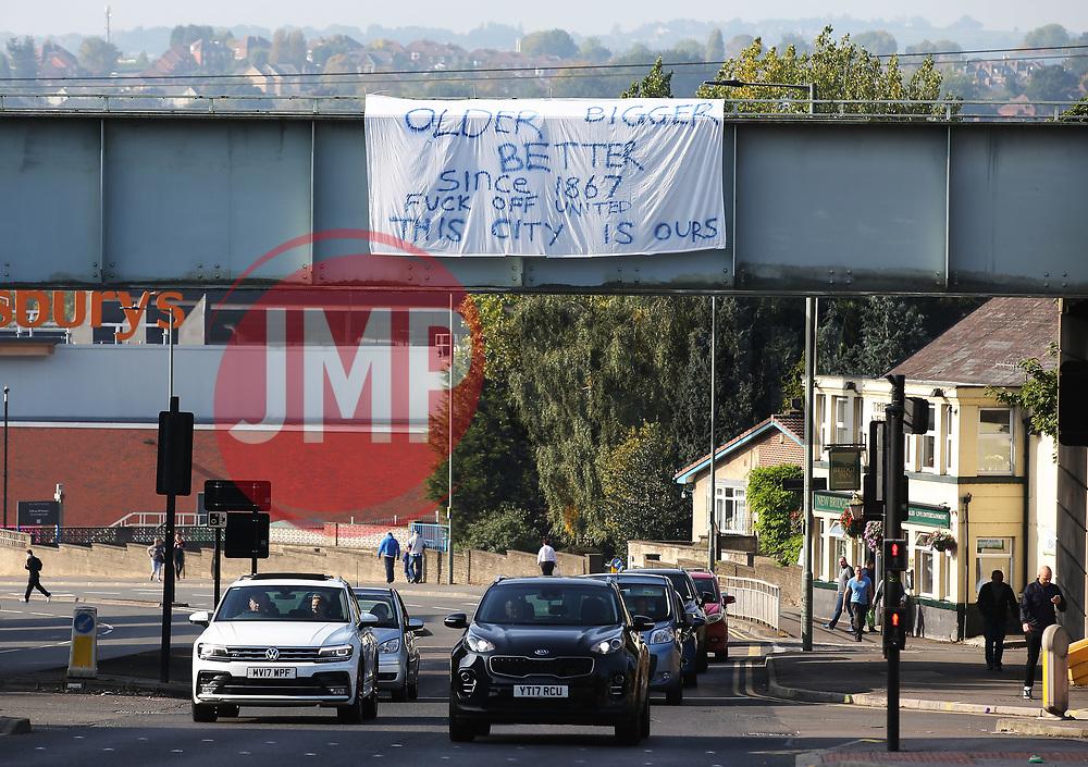 A Sheffield Wednesday banner hangs on a bridge beside Hillsborough Stadium - Mandatory by-line:  Matt McNulty/JMP - 24/09/2017 - FOOTBALL - Hillsborough - Sheffield, England - Sheffield Wednesday v Sheffield United - Sky Bet Championship