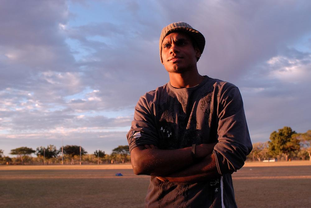 Shane Pickett, 19, a rover with the Halls Creek Hawks, Thursday night training, Halls Creek, The Kimberley, Western Australia. 29 June 2006