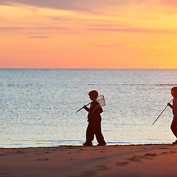 Kids on Bound Brook Island, Cape Cod National Seashore, Wellfleet, Massachusetts.
