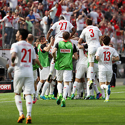 LEVERKUSEN, May 14, 2017  Players of FC Cologne celebrate after scoring during the Bundesliga match between Bayer 04 Leverkusen and FC Cologne in Leverkusen, Germany, May 13, 2017. The match ended 2-2. (Credit Image: © Ulrich Hufnagel/Xinhua via ZUMA Wire)