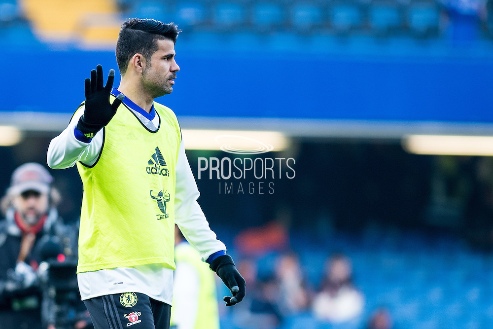 Chelsea forward Diego Costa (19) warm up before the Premier League match between Chelsea and Hull City at Stamford Bridge, London, England on 22 January 2017. Photo by Sebastian Frej.