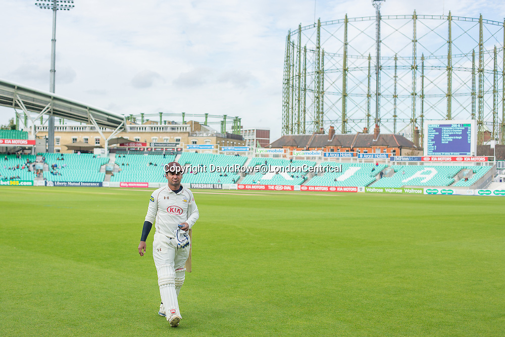 Kumar Sangakkara  leaves the field, out for 101 for Surrey against Northamptonshire on Day 2 of the County match at the Oval