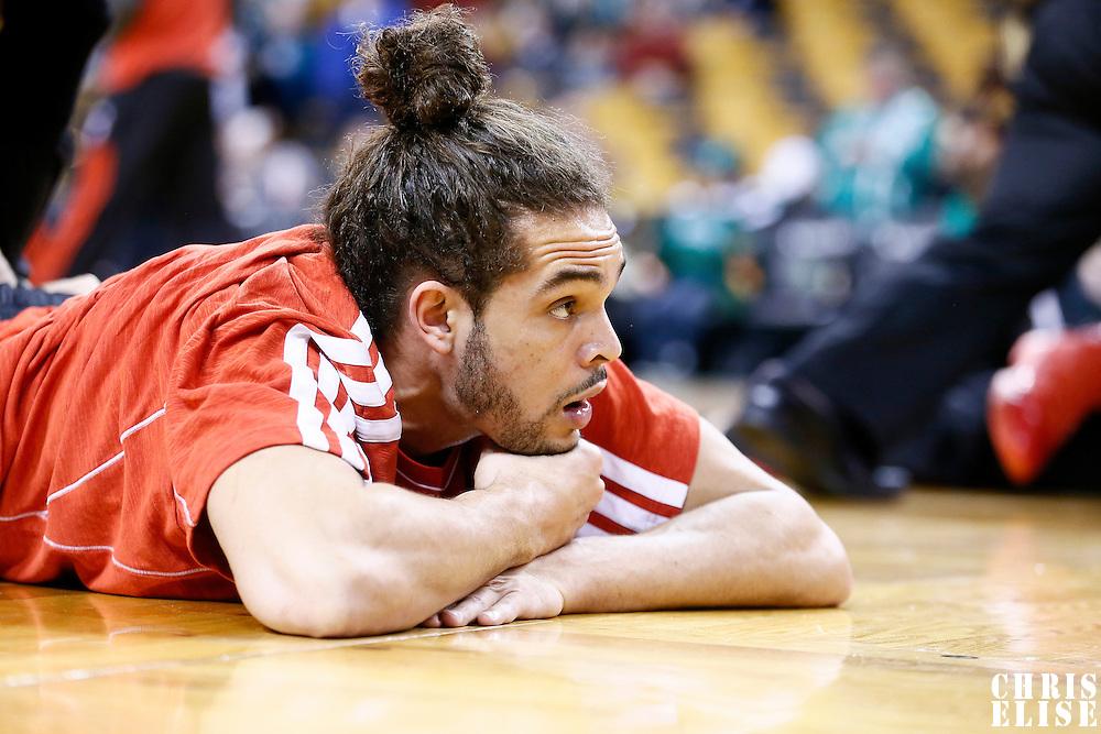 13 February 2013: Chicago Bulls center Joakim Noah (13) stretches prior to the Boston Celtics 71-69 victory over the Chicago Bulls at the TD Garden, Boston, Massachusetts, USA.