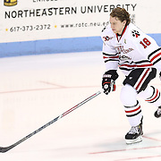 John Stevens #18 of the Northeastern Huskies on the ice during the game at Matthews Arena on February 22, 2014 in Boston, Massachusetts. (Photo by Elan Kawesch)