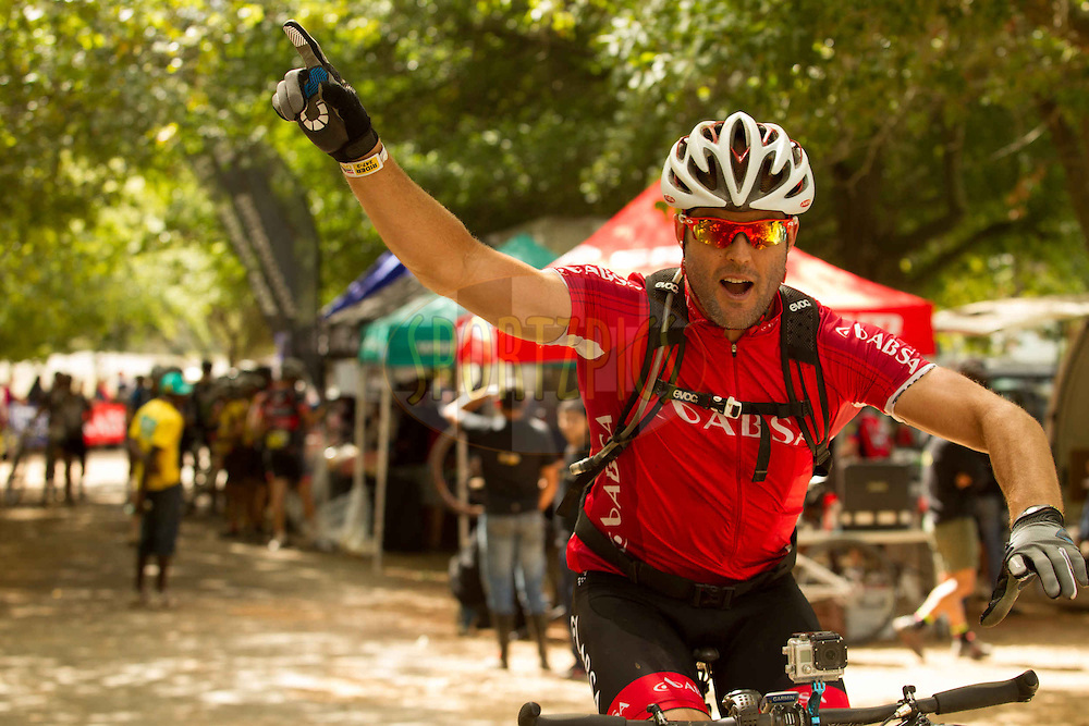Michael Mol shows off his John Travolta moves during stage 6 of the 2013 Absa Cape Epic Mountain Bike stage race from Wellington to Stellenbosch, South Africa on the 23 March 2013..Photo by Greg Beadle/Cape Epic/SPORTZPICS