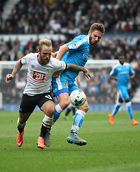 Johnny Russell of Derby County (L) and James Henry of Wolverhampton Wanderers in action - Mandatory byline: Jack Phillips / JMP - 07966386802 - 18/10/2015 - FOOTBALL - The iPro Stadium - Derby, Derbyshire - Derby County v Wolverhampton Wanderers - Sky Bet Championship