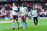 Matt Targett (18) of Aston Villa and Mbwana Samatta (20) of Aston Villa warming up ahead of the Premier League match between Bournemouth and Aston Villa at the Vitality Stadium, Bournemouth, England on 1 February 2020.