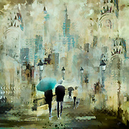 Painterly rendering of an urban scene with sketched people with umbrellas walking along a street with lanterns against a background of skyscrapers in warm pastel colors of beige, yellow and turquoise