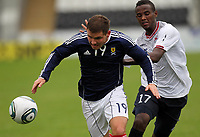 Football - International Under 21 Friendly - Scotland U21 vs. Norway U21<br /> <br /> Scotland vs Norway U21<br /> International Challenge Match, New St Mirren Park, Paisley.<br /> Alexander MacDonlad of Scotland Competes with Abdisalam Ibrahim of Norway <br /> 10th August 2011<br /> <br /> Ian MacNicol/Colorsport