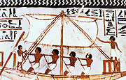 Wall painting from tomb of Sennefer, Abydos, 18th Dynasty, showing boat on the Nile with square-rigged sail and oarsmen.