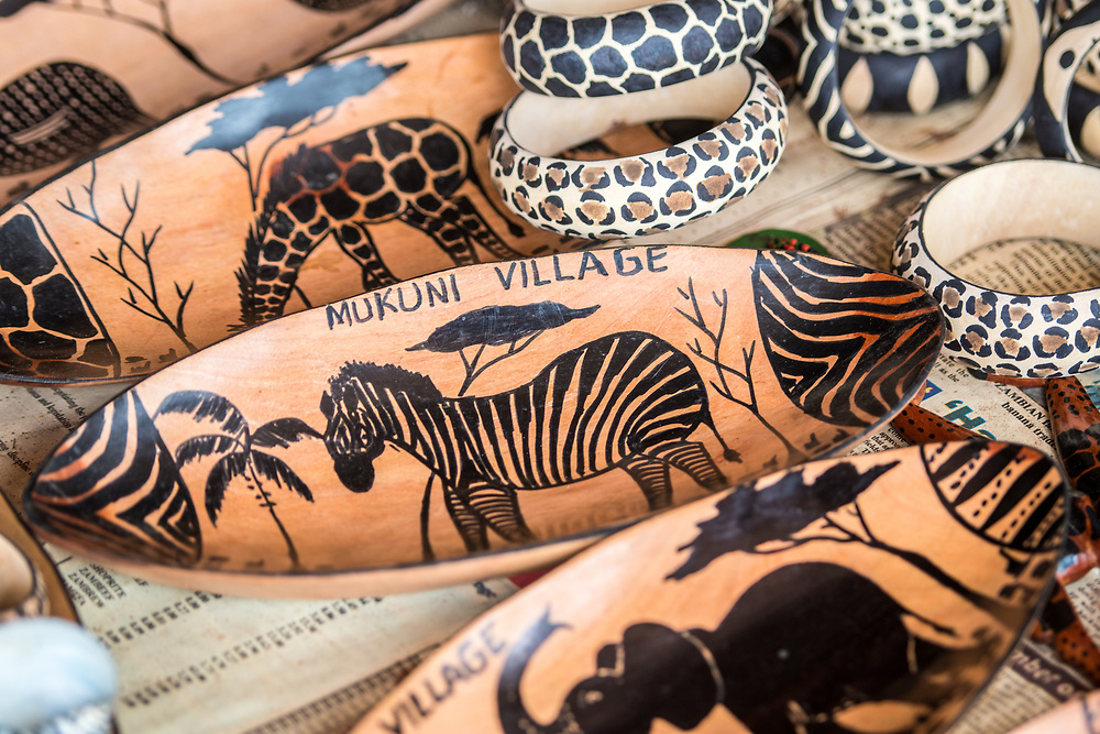 Decorative handcrafted wooden dishes being sold as souvenirs, Mukuni Village, Zambia