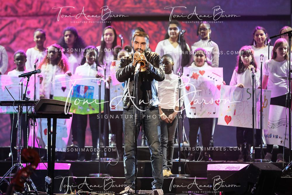 "PARIS, FRANCE - FEBRUARY 10:  Ibrahim Maalouf performs during the ""32nd Victoires de la Musique 2017"" at Le Zenith on February 10, 2017 in Paris, France.  (Photo by Tony Barson/FilmMagic)"