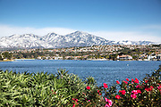 Snow on Santiago Peak Behind Lake Mission Viejo California
