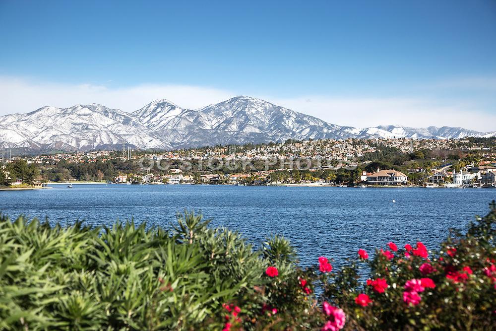 Snow on Santiago Peak Behind Lake Mission Viejo California