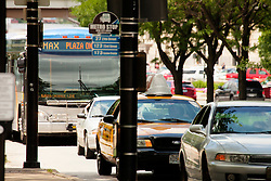 Bus and car traffic in downtown Kansas City, Missouri.