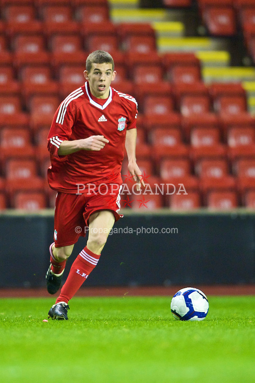 LIVERPOOL, ENGLAND - Monday, November 30, 2009: Liverpool's John Flanagan in action against Wolverhampton Wanderers during the FA Youth Cup 3rd Round at Anfield. (Pic by David Rawcliffe/Propaganda)