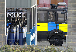 © Licensed to London News Pictures. 15/02/2016<br /> First water cannon parked up in training centre yard,Kent.<br /> <br /> Two Metropolitian Police water cannons with a new paint job and Met Police logo on the side have been spotted at the Metropoltian Police Specialist Training Centre in Gravesend,Kent.<br />  The home secretary Theresa May has refused to allow the use off water cannon in England and Wales after London Mayor Boris Johnson bought three second hand at cost of £218.000 from the German police.<br />  (Byline:Grant FalveyLNP)