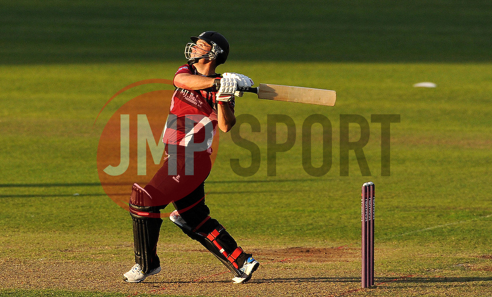 Somerset's Jim Allenby hits the ball. Photo mandatory by-line: Harry Trump/JMP - Mobile: 07966 386802 - 22/05/15 - SPORT - CRICKET - Natwest T20 Blast - Somerset v Sussex Sharks - The County Ground, Taunton, England.