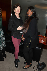 """Left to right, MARELLA OPPENHEIM and ANGELLA JOHNSON at a private screening Of """"The Gun, The Cake and The Butterfly"""" hosted by Amanda Eliasch at The Bulgari Hotel, 171 Knightsbridge, London on 24th March 2014."""