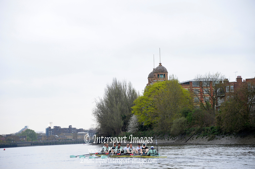 London, United Kingdom.  Friday Morning, Cambridge Training session,  2014, Varsity, Tideway Week, annual training week, both crews based at Putney, Championship Course,  River Thames;   09:52:35 - Friday  - 04/04/2014  [Mandatory Credit; Peter Spurrier/Intersport Images].<br /> <br /> CUBC. Bow. Mike THORP, 2. Luke JUCKETT, 3. Ivo DAWKINS, 4. Steve DUDEK, 5. Helge GRUETJEN, 6. Matthew JACKSON, 7. Joshua HOOPER, Stroke, Henry HOFFSTOT and cox Ian MIDDLETON 160th Boat Race