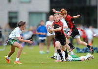 13 Aug 2016:  Ballymote Sligo/Connaught, right, on the attack against Monaghan Town/Ulster  Tag Rugby U14 semi-final. 2016 Community Games National Festival 2016.  Athlone Institute of Technology, Athlone, Co. Westmeath. Picture: Caroline Quinn