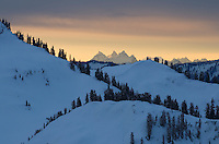 Winter dawn in the North Cascades, Washington