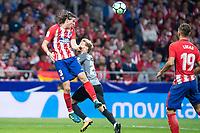 Atletico de Madrid's Filipe Luis and Malaga's Sergio 'Keko' Montan during La Liga match between Atletico de Madrid and Malaga CF at Wanda Metropolitano in Madrid, Spain September 16, 2017. (ALTERPHOTOS/Borja B.Hojas)