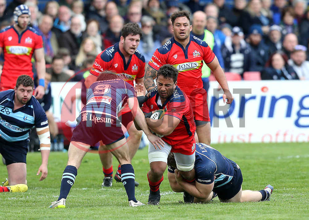 Marco Mama No 8 for Bristol Rugby is tackled - Mandatory by-line: Robbie Stephenson/JMP - 23/04/2016 - RUGBY - Goldrington Road - Bedford, England - Bedford Blues v Bristol Rugby - Greene King IPA Championship